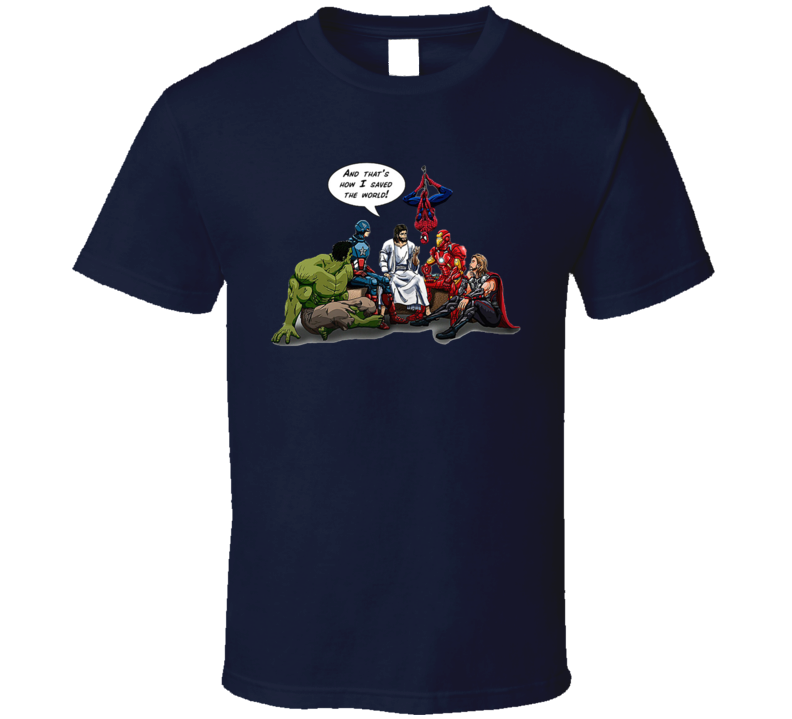 Jesus Superheroes And Thats How I Saved The World Comic Funny Christmas T Shirt