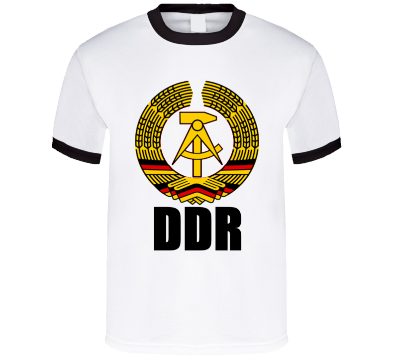 b256a30ca19 Ddr East Germany Mens Retro Vintage Ringer T-shirt